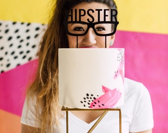 Hipster Glasses Cake Topper 1 CT. , Laser Cut, Acrylic, Cheeky and Sassy Cake Toppers for Birthday Parties