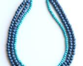 Carolina Panthers necklace, Blue Layered Necklace, multi strand Necklace, multi layered necklace, beaded necklace, statement necklace