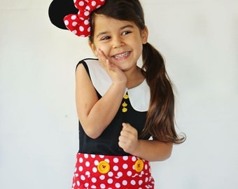 Minnie Mouse inspired tank top in black and white
