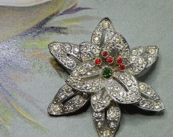 1920s Rhinestone & Pot Metal TREMBLER Star Flower Brooch or Pin