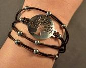 Leather Bracelet-Charm Bracelet-Tree of Life Charm Bracelet-Brown Leather Bracelet-Women Bracelet-Gifts-Friendship Bracelet-Friendship Gifts
