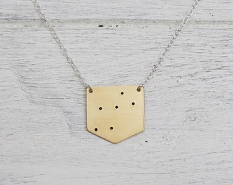 Lyra Constellation Necklace in Brass or Sterling Silver