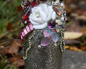 Jeweled Bottle Encrusted Jewelry Rhinestones Crystals Antique Glass Small Bottle Garden Nature Lover Original Home Art Decor - Serenity Rose