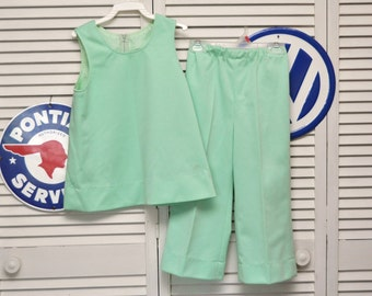 Vintage 70's Girls Pantsuit/Two Piece Top & Pants/Sleeveless Blouse/Costume Theater/Handmade OOAK/Mint Green/Spring/Child's size 7 8/