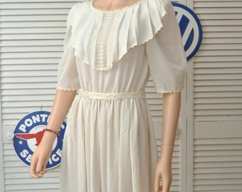 Vintage 80's does 20's Women's Dress/Bridal Wedding/Sheer Medium/Ecru Candlelight/Camille USA/Polyester/Semi Formal/Lace Prom Romantic