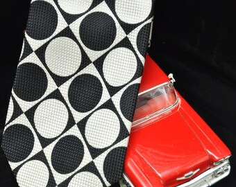 Vintage Men's 60's Tie/Geometric Black & White Circles in Blocks/Damon/Union Made/Theater Costume/Checkered Weave/Father's Day/Wide Tie 70's