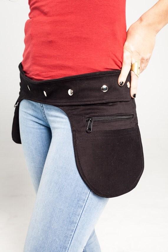 Black Fanny Pack //Confortable Bum Bag//Utility Waist Bag//Festival Hip Pouch//Cotton Pocket Bag // Original Steampunk bag