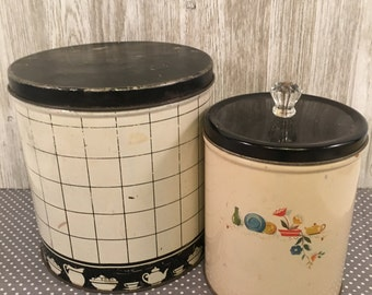 Vintage Black and White Kitchen Tin Canisters