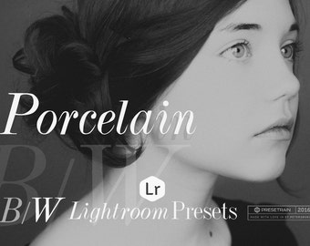 Black and White Lightroom Presets - Porcelain B&W Portrait Presets - monochrome conversion photo effects - Adobe Lightroom 4, 5, 6 and CC