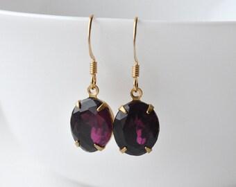 Purple Earrings, Vintage Glass, Glass Ovals, Purple Gems, Estate Style, Earrings UK