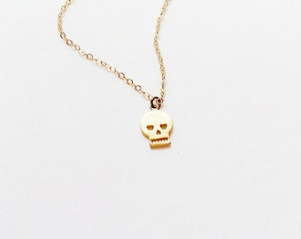 Skull Necklace // 14kt Gold  // Girlfriend // Layering Necklace // Strength Necklace