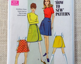 Vintage sewing pattern Simplicity 7498 Waist 22 1960s skirt mini skirt wraparound wrap