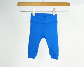 Baby toddler bamboo leggings, gender neutral baby clothes, baby gifts, royal blue, plain solid color baby pants, baby boy girl leggings