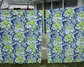Vintage 1960s 1970s Pair Pinch Pleat Curtains Drapes Mod Tropical Floral Blue Green White 84 Inch Length