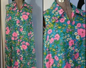 Vintage Womens 60s 70s Psychedelic Floral Tent Dress Sleeveless A Line by Go-in's by Danville Modern Size Large