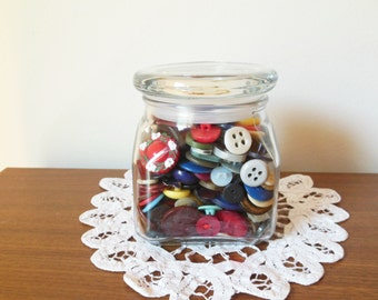 Vintage Buttons in decorative glass jar with lid - antique buttons - grandma's button jar - button collection - sewing buttons - decoration