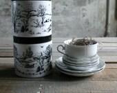 2 Vintage Stacking Milk Glass Jars with Black Lids