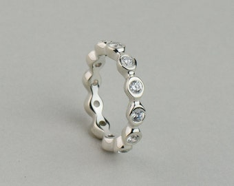 1.32 carat Diamond Bezel Eternity ring. Available in Solid Gold and Platinum