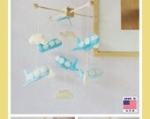 Baby Crib Mobile, Baby Boy Mobile, Airplane Mobile, Jumbo Jet fly in the sky, Grayish Blue Gray White Ivory