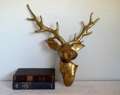 Vintage Brass Deer Faux Taxidermy, Metal Animal Head, Mantel Statement Piece, Heavy Hollywood Regency Decor