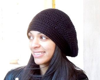 Crochet Slouchy Hat, Women, Men, Teen, Blue, Multicolor, Tam, Black,