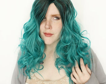 Long Teal wig   Realistic wig, Curly wig   Gradient Teal with Black Roots wig   Cerulean Sea