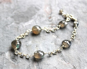 Labradorite Bracelet Sterling Silver Gray Gemstone Bracelet semi precious faceted coins