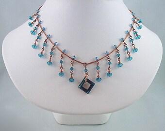 Copper and Bermuda Blue Swarovski Crystal Necklace