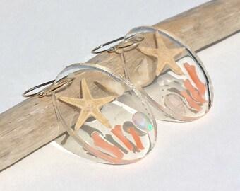 Beach Hoop Earrings, Ethiopian Opal Hoops, Starfish Hoop Earrings, Real Starfish Jewelry, Hawaiian Shell Hoops:  Ready to Ship