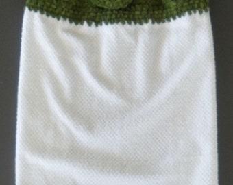 Kitchen Towel, Crochet top with fabric bottom edge