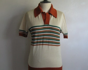 Vintage 1980s Knit Mens Top  Cream Russet Stripe Polo Style Short Sleeve 80s Shirt Medium