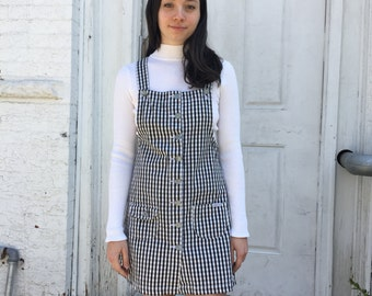 Vintage 90's Squeeze black and white gingham denim overall dress