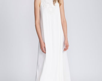 Women white dress, oversized dress, summer dress, summer day dress, loose fit, plus size, sundress, t shirt dress, dolman, casual style