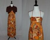 70s Hawaiian Maxi Dress - Floral Cotton Barkcloth - Halter w/Matching Jacket - Vintage 1970s - XS S
