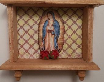 Virgen de Guadalupe mini Rustic like Shrine  Day of the Dead Dia de los Muertos  Altar retablo