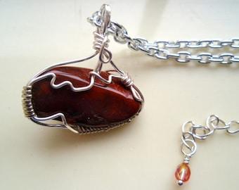 Mahogany Obsidian Pendant, Mahogany Necklace, Silver and Red Necklace, Deep Red Obsidian Pendant