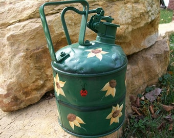 Antique Kerosene Can Hand Painted With Sunflowers and Ladybugs