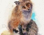 FOX in SNOW Watercolor Print by Dean Crouser