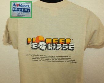 Pioneer Eclipse Shine-ology vintage t-shirt S/M beige 80s soft thin Hanes