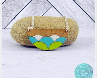 Lime Green, White and Aqua Blue Wave Scallop Laser Cut Bamboo Wood Pendant Necklace