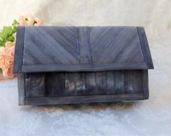 Lovely Vintage EEL Skin~Clutch~CHEVRON Pattern~Supple Gray~Light Slate Blue