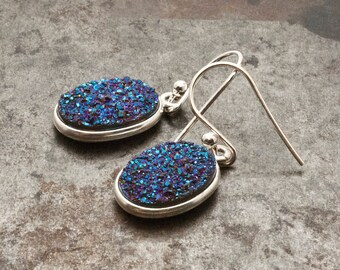 Druzy Earrings, Silver Sparkly Blue Druzy Agate, Glitter Blue Drop Earrings, Druzy Gemstone Bridal Earrings, Sparkle Druzy Agate Jewelry