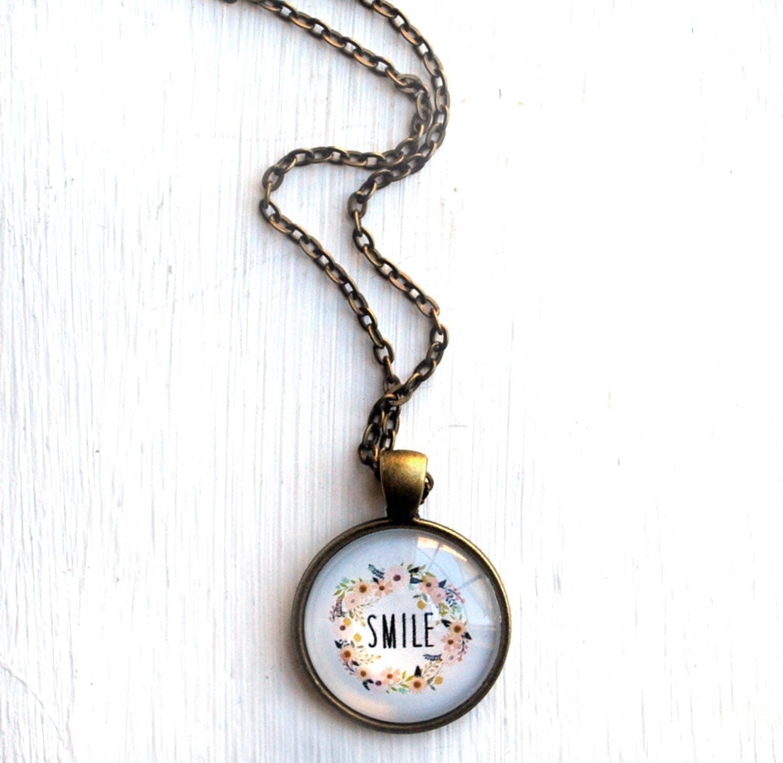 Smile Necklace Inspirational Jewelry Positive Jewelry