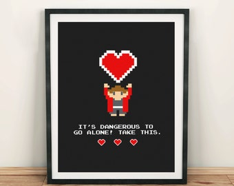 8 Bit Geek Art Print | Video Game Art | Gamer Geek Decor | Geeky art | Pixel Art | Romantic Geek Gift | Geek Love Note card  Gamer Wall Art