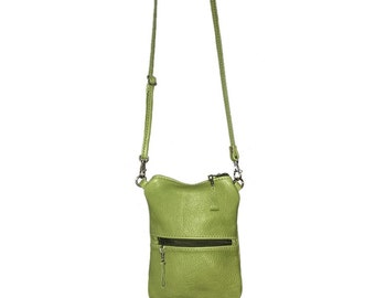iPhone 7 Plus Cross-body Purse, iPhone 7 Purse, Small Green Leather Cross-Body Purse, Phone Purse, iPhone Pouch