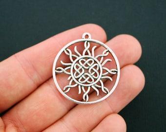 2 Celtic Knot Sun Pendant Charms Antique Silver Tone - SC5629