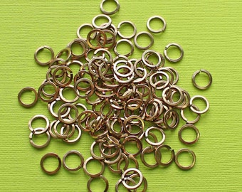 100 Jump Rings 8mm Champagne Anodized Aluminum 16 gauge Top Quality Square Cut - MT299