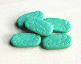 5 Czech Glass Beads 25mm x 12mm Etched Turquoise Tones - CB188