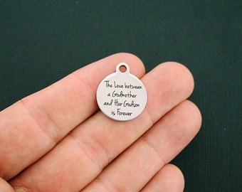 Godmother Stainless Steel Charms - The Love between a Godmother and Her Godson is Forever - Exclusive Line - Quantity Options - BFS1399