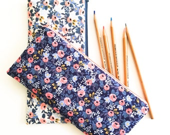 Zipper Pouch, Pencil Pouch, Rifle Paper Co Blue Floral Pencil Case, School Supplies Bag, Women, College, Teens, Kids, Project Bag Organizer